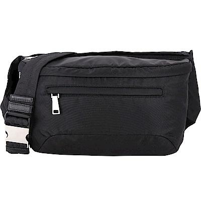 PRADA 新款橡膠標籤尼龍胸背/腰包(黑色)