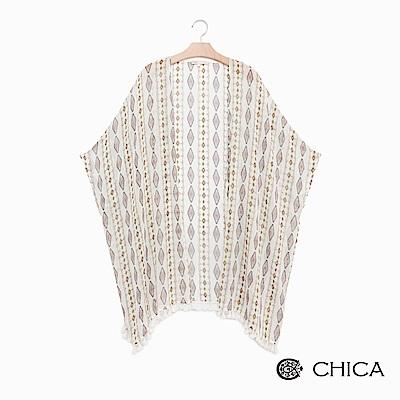 CHICA 慵懶假期民俗圖騰流蘇設計罩衫(2色)