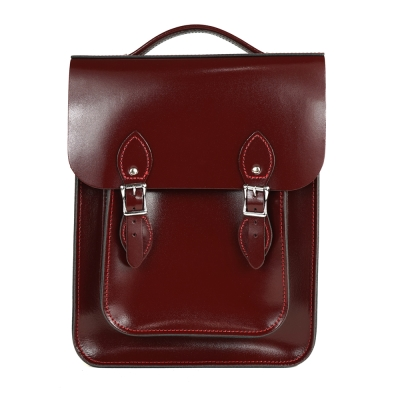 The Leather Satchel 英國原裝手工牛皮經典後揹包 手提包 浪漫紅