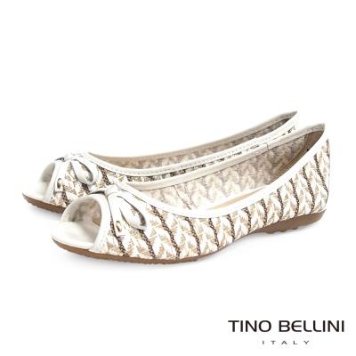 Tino Bellini 巴西進口工藝圖騰編織平底魚口娃娃鞋_白