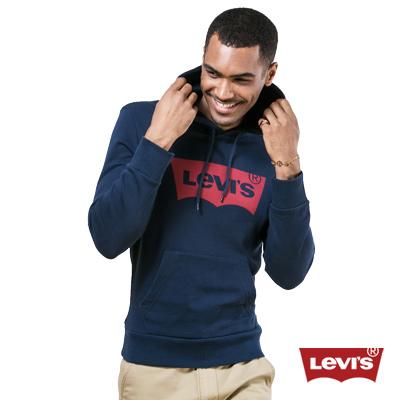 Levis-經典logo印花純棉長袖厚棉Tee-男-深藍