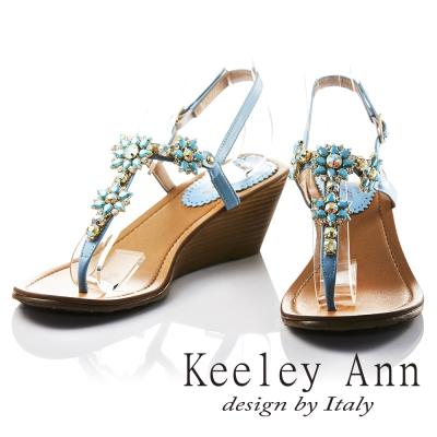 Keeley Ann 太陽花朵芒刺鑲鑽全真皮楔形T字夾腳涼鞋(藍色)