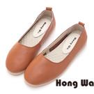 Hong Wa 潮流率性牛皮簡約款包鞋 - 棕