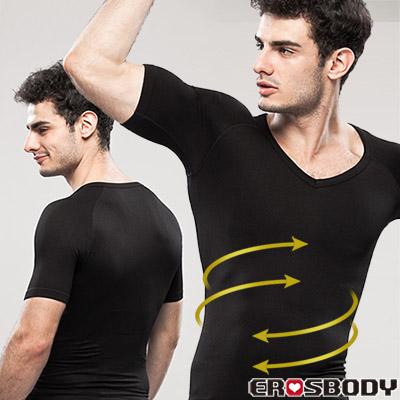 EROSBODY 男生 黑色健身塑身內衣 短袖 推薦