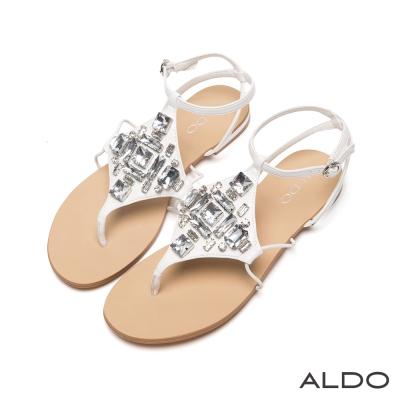 ALDO-璀璨菱形寶石系雙夾心交叉繫帶涼鞋-優雅白色