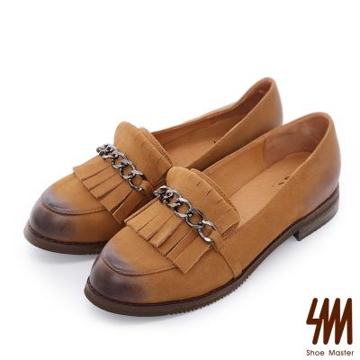 SM~ 全真皮~刷色流蘇鏈帶平底粗跟樂福鞋~棕色