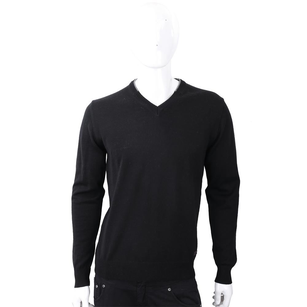 TRUSSARDI 皮革標黑色針織羊毛衫