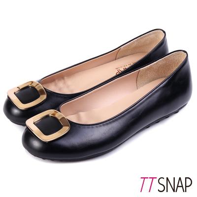 TTSNAP娃娃鞋-MIT高雅時尚金屬方釦平底鞋 黑