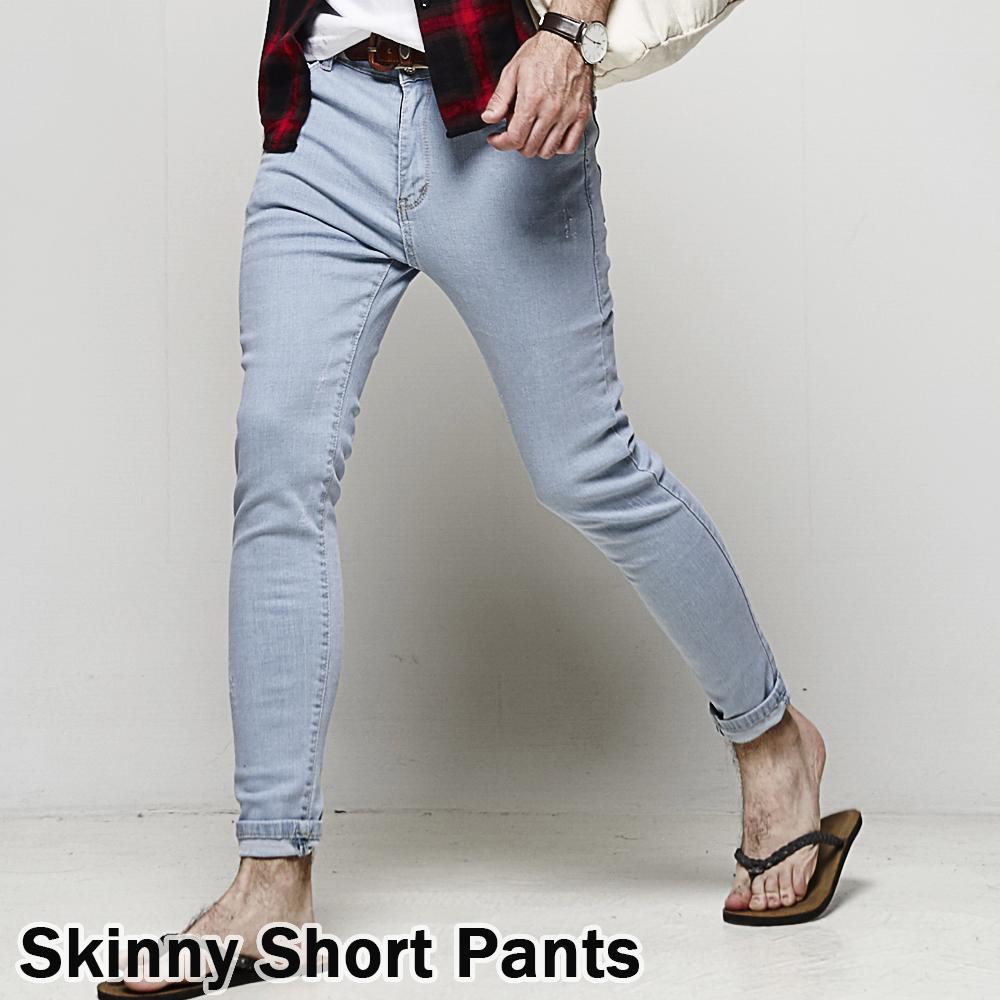 DITION 水洗彈力SKINNY微刷破合身牛仔褲 夏季薄款 水藍