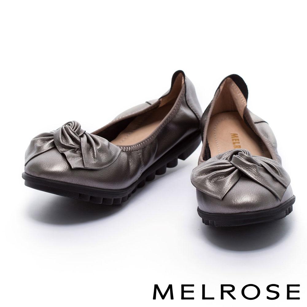 娃娃鞋 MELROSE 扭轉皮花蝴蝶結超軟Q全真皮娃娃鞋-古銅