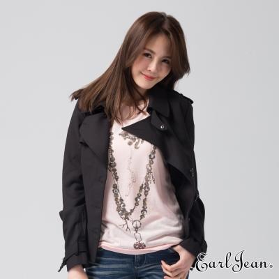 Earl Jean 腰帶短版西裝外套-黑色-女