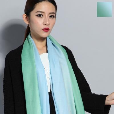 Seoul Show 漸變撞色100%純羊毛80支圍巾披肩8色  淺綠天藍漸變