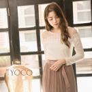 東京著衣-yoco 輕熟美人綴珠蕾絲網紗毛織上衣-S.M.L(共二色)