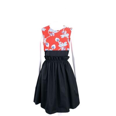 Max Mara-SPORTMAX 紅x黑色花卉拼接棉質無袖洋裝