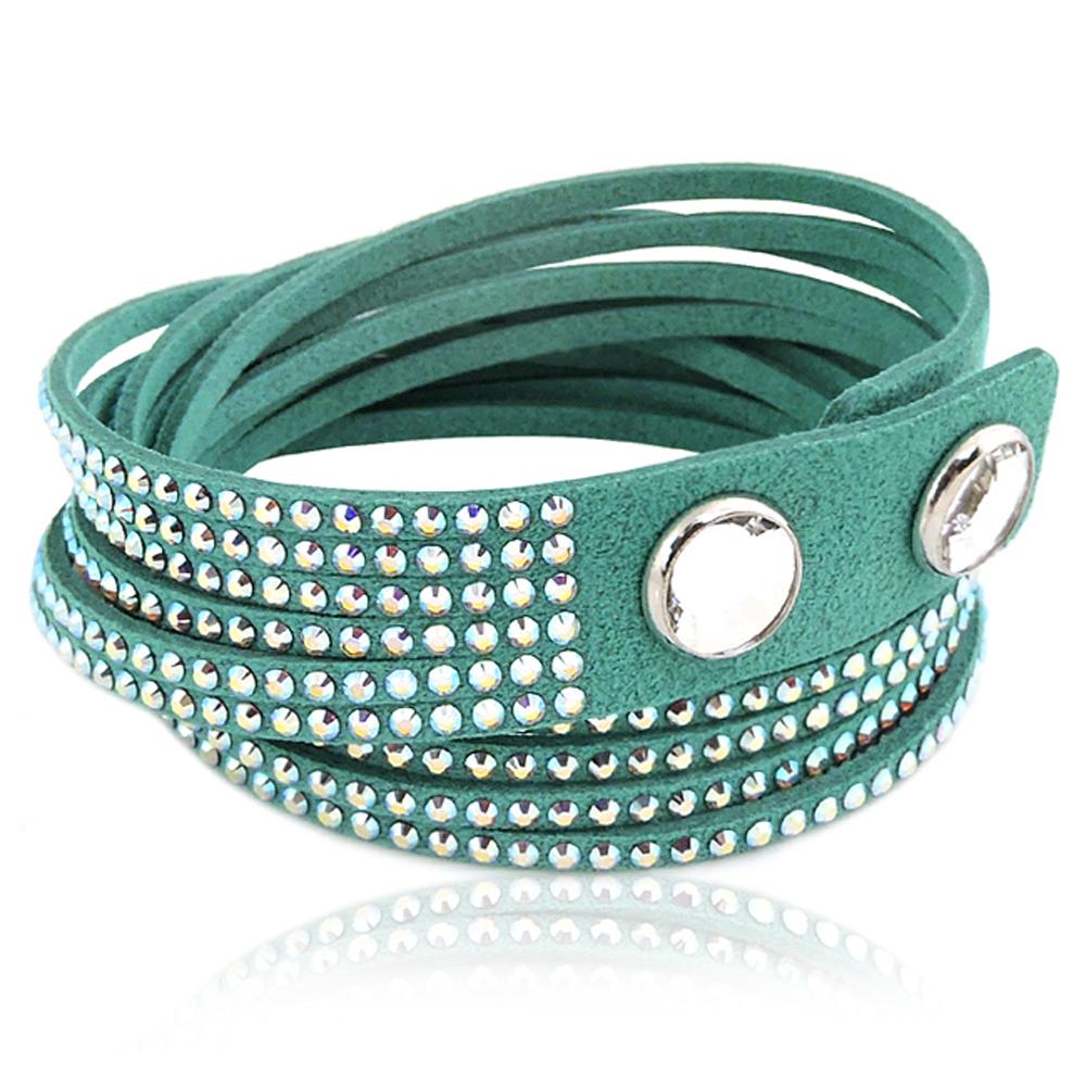SWAROVSKI Slake水晶鑲嵌手鏈手環-綠色