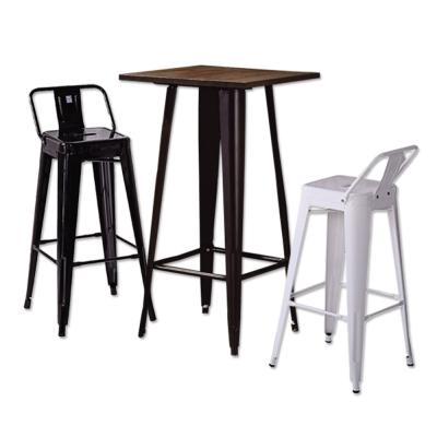 AT HOME-韋恩2尺木面吧台桌椅組(一桌二椅) 60x60x108cm