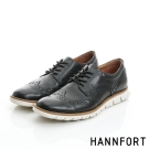 HANNFORT ZERO GRAVITY真皮翼紋德比氣墊鞋-男-曜石黑