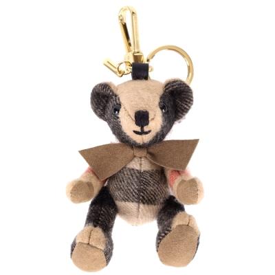 BURBERRY THOMAS 格紋喀什米爾泰迪熊吊飾(駝色)