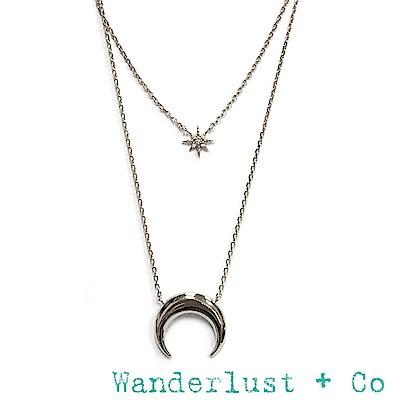 Wanderlust+Co 澳洲品牌 新月銀項鍊 北極星項鍊 CRESCENT STAR
