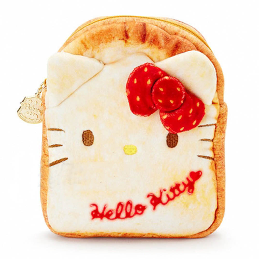 Sanrio 三麗鷗明星趣味麵包店系列吐司麵包造型絨毛扁平化妝包(KITTY)