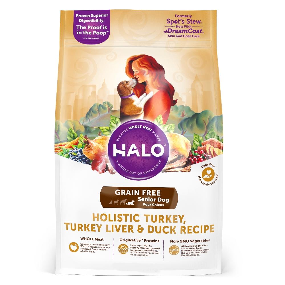 HALO嘿囉 無穀熟齡犬燉食 新鮮火雞肉燉鴨肉+鷹嘴豆 4磅