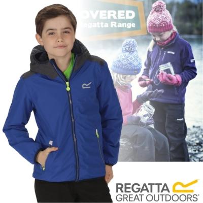 【REGATTA】兒童 佛坎尼 超反光輕量彈內刷毛防水外套_藍/豹灰
