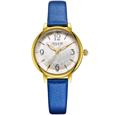JULIUS聚利時 迷蝶花園立體鏡面皮帶腕錶-寶藍/31mm