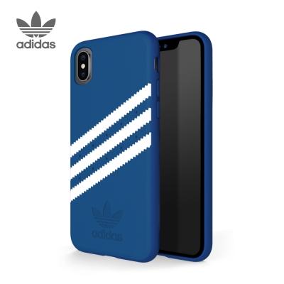 adidas iPhone X 經典款麂皮手機殼 經典三條紋 藍白