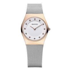 BERING丹麥精品手錶 晶鑽米蘭帶系列 藍寶石鏡面 銀x玫瑰金 小錶面27mm