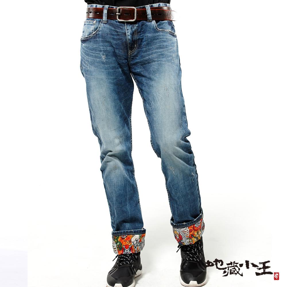 地藏小王 BLUE WAY 妖國亂世系列-浮世繪熱昇華彈性直筒褲