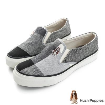Hush Puppies 拼接格紋咖啡紗中性懶人鞋-黑色
