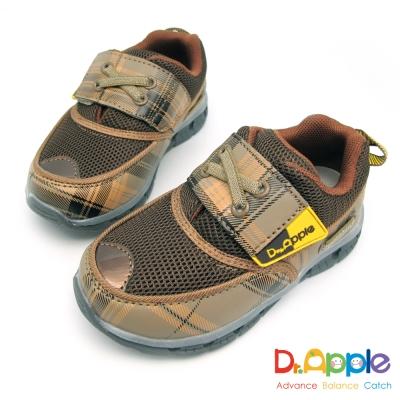 Dr. Apple 機能童鞋 經典格紋發光運動鞋-咖啡