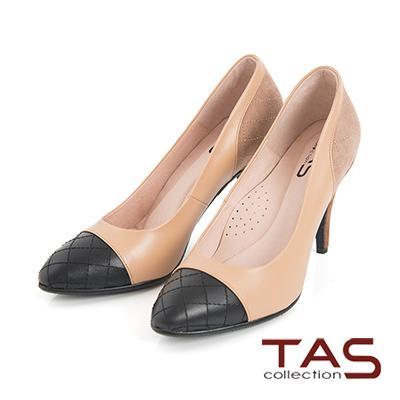 TAS 菱格紋撞色拼接高跟鞋-小香黑