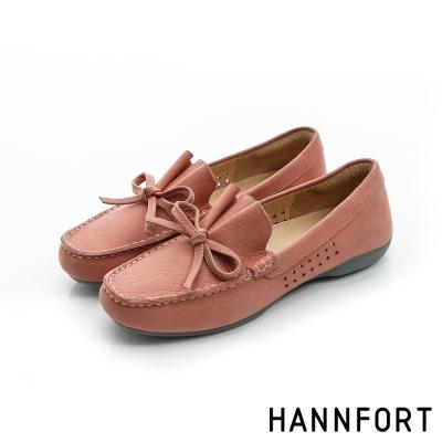 HANNFORT RIPPLE蝴蝶結典雅樂福鞋-女-櫻花粉