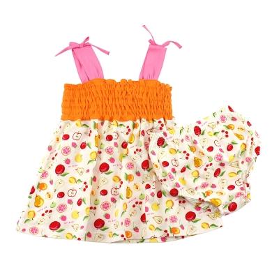 愛的世界 MYBABY 純棉水果百匯肩帶露背套裝/1~3歲