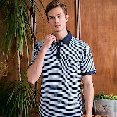 范倫鐵諾路迪吸濕排汗襯衫領Polo衫-藍條