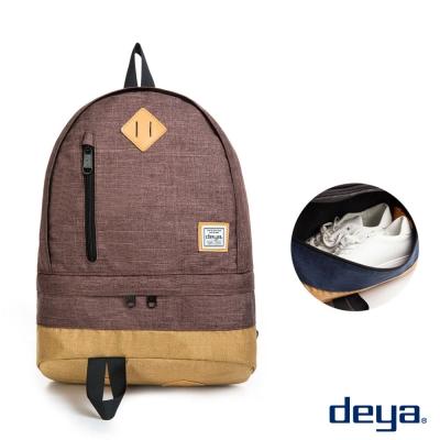 deya 運動收納撞色後背包 咖啡色