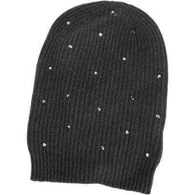 PINKO 深綠色條紋針織貼飾毛帽(64%WOOL)