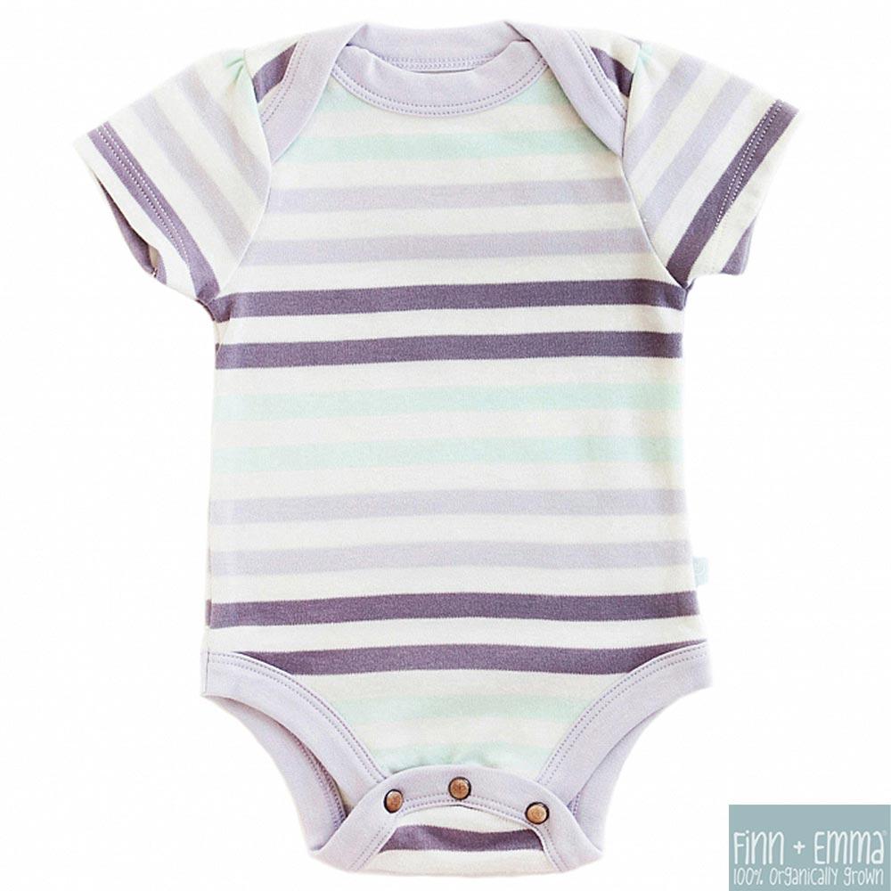 Finn + Emma 有機棉 Stripe款女寶寶短袖包屁衣