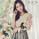 東京著衣-yoco 柔情香頌質感蕾絲荷葉袖上衣-S.M.L(共二色)