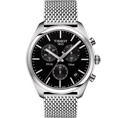 TISSOT 天梭 PR100經典時尚米蘭帶石英錶(T1014171105101)