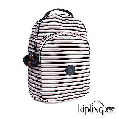 Kipling 後背包 簡約條紋密橙-大