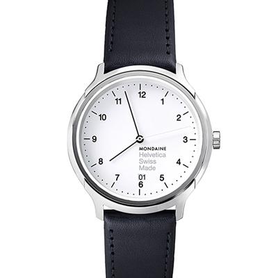MONDAINE 瑞士國鐵Helvetica 聯名腕錶-白/33mm