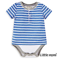 Little moni 條紋短袖包屁衣 (2色可選)