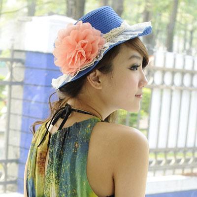 【Aimee Toff】精緻紗蕾牡丹春貌遮陽帽(藍)