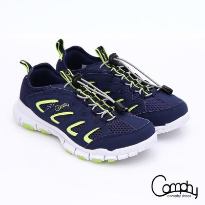 Comphy羽量抗菌 彈性繩輕量抗震健走鞋 深藍色