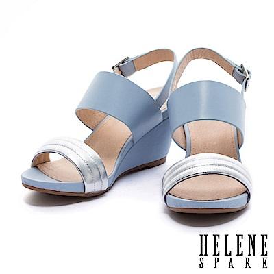 涼鞋 HELENE SPARK 摩登時尚撞色異材質設計一字帶楔型高跟涼鞋-藍