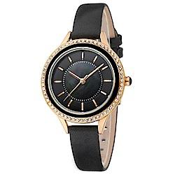 MANGO 閃耀時光晶鑽時尚腕錶-黑/34mm
