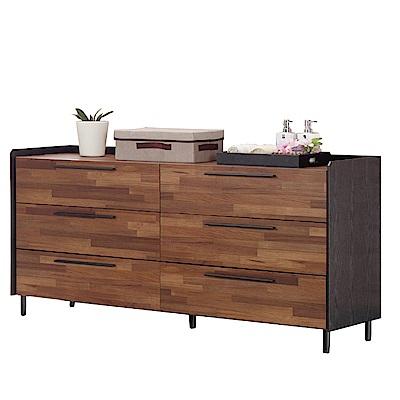 品家居 依塔5尺木紋雙色六斗櫃-150x43x100cm免組