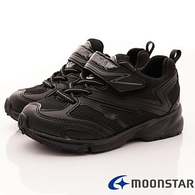 日本月星頂級童鞋-競速私校純白運動鞋-016黑(中大童段)T